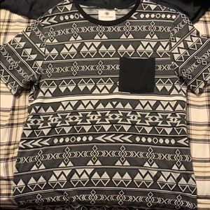 On the Byas graphic T, size L